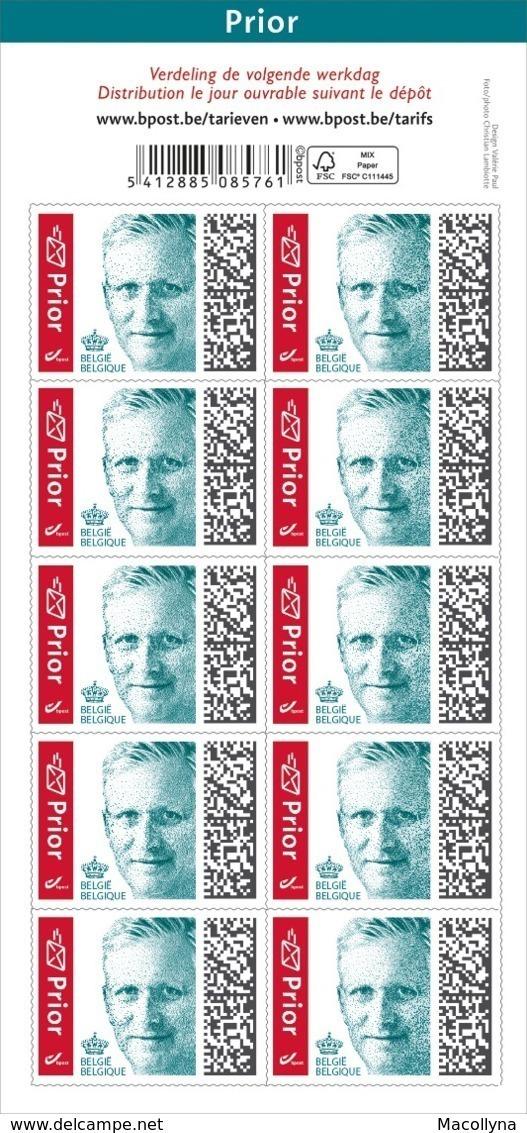 België 2019 Vel Zelfklevende Priorzegels / 10 Timbres Adhesives Prior - Carnets 1953-....