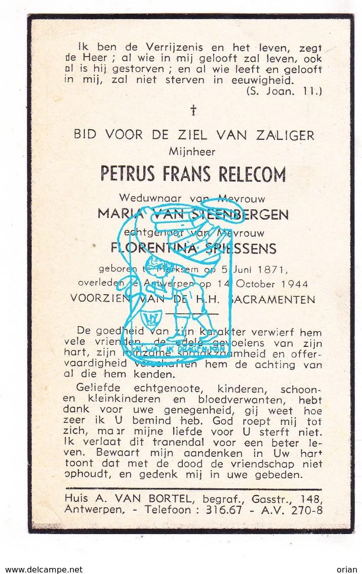 DP Petrus F. Relecom ° Merksem 1871 † Antwerpen 1944 X M. Van Steenbergen Xx F. Spiessens - Images Religieuses
