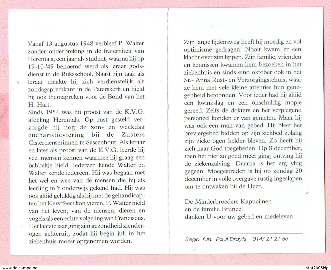 Bidprentje - Pater Walter Marcel BRUNEEL - Roeselare 1920 - Herentals 1992 - Images Religieuses