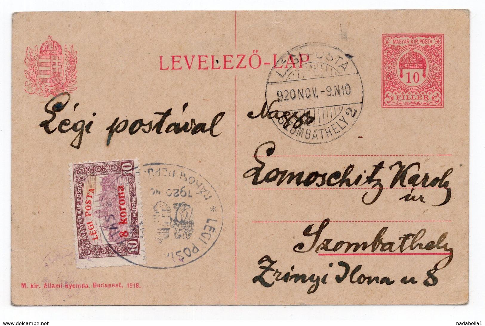 09.11.1920 HUNGARY, LEGI POSTA, STATIONERY CARD, USED - Postal Stationery