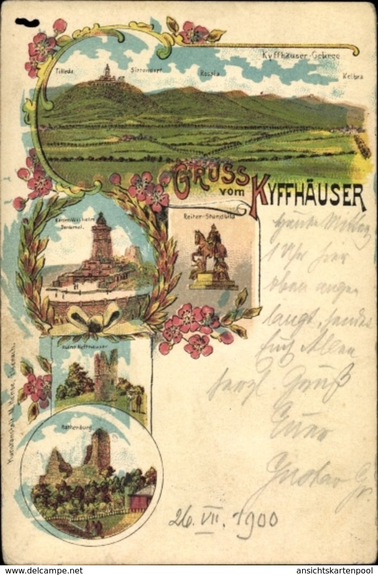 Lithographie Kyffhäuserland In Thüringen, Kaiserdenkmal, Reiterstandbild, Rothenburg - Andere