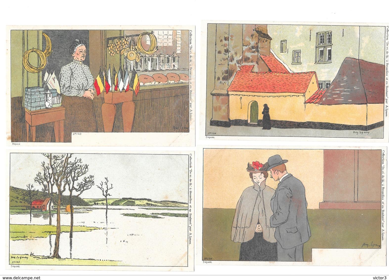 CPA 8 AMEDEE LYNEN ART NOUVEAU DE CI DE LA A BRUXELLES ET EN BRABANT - Lynen, Amédée-Ernest