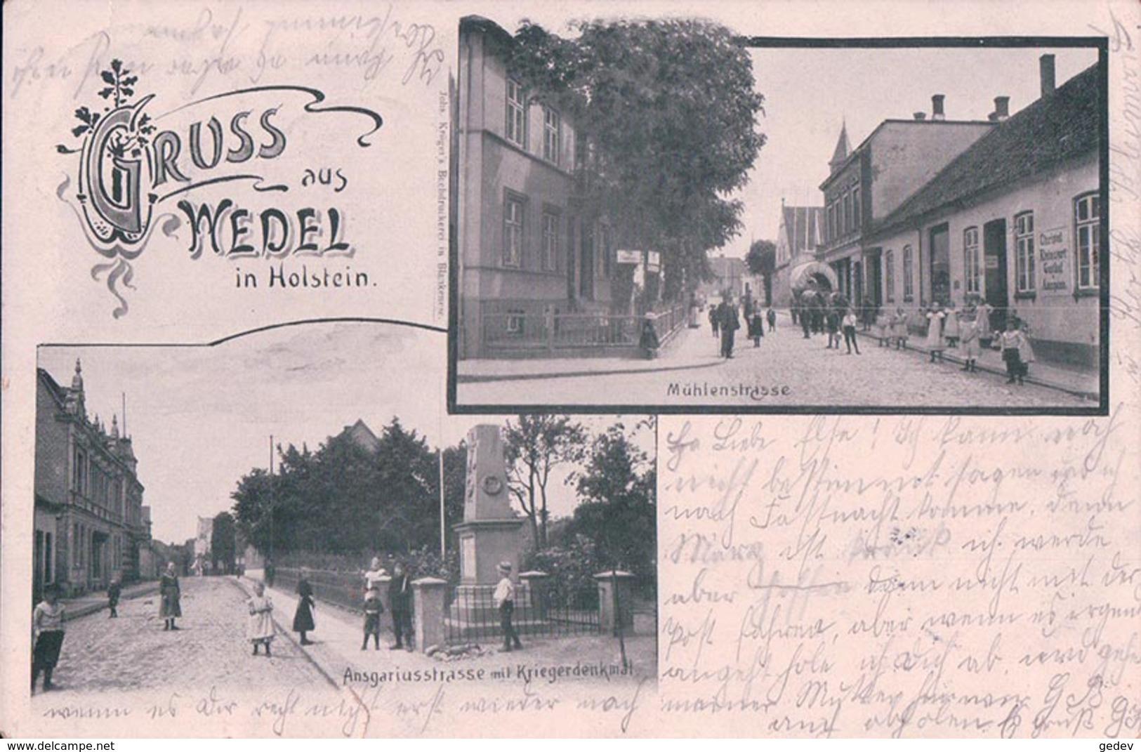Allemagne, Holstein, Gruss Aus Wedel, Mühlenstrasse, Ansgariusstrasse Mit Kriegdenkmal, Attelage (13.2.1904) - Wedel