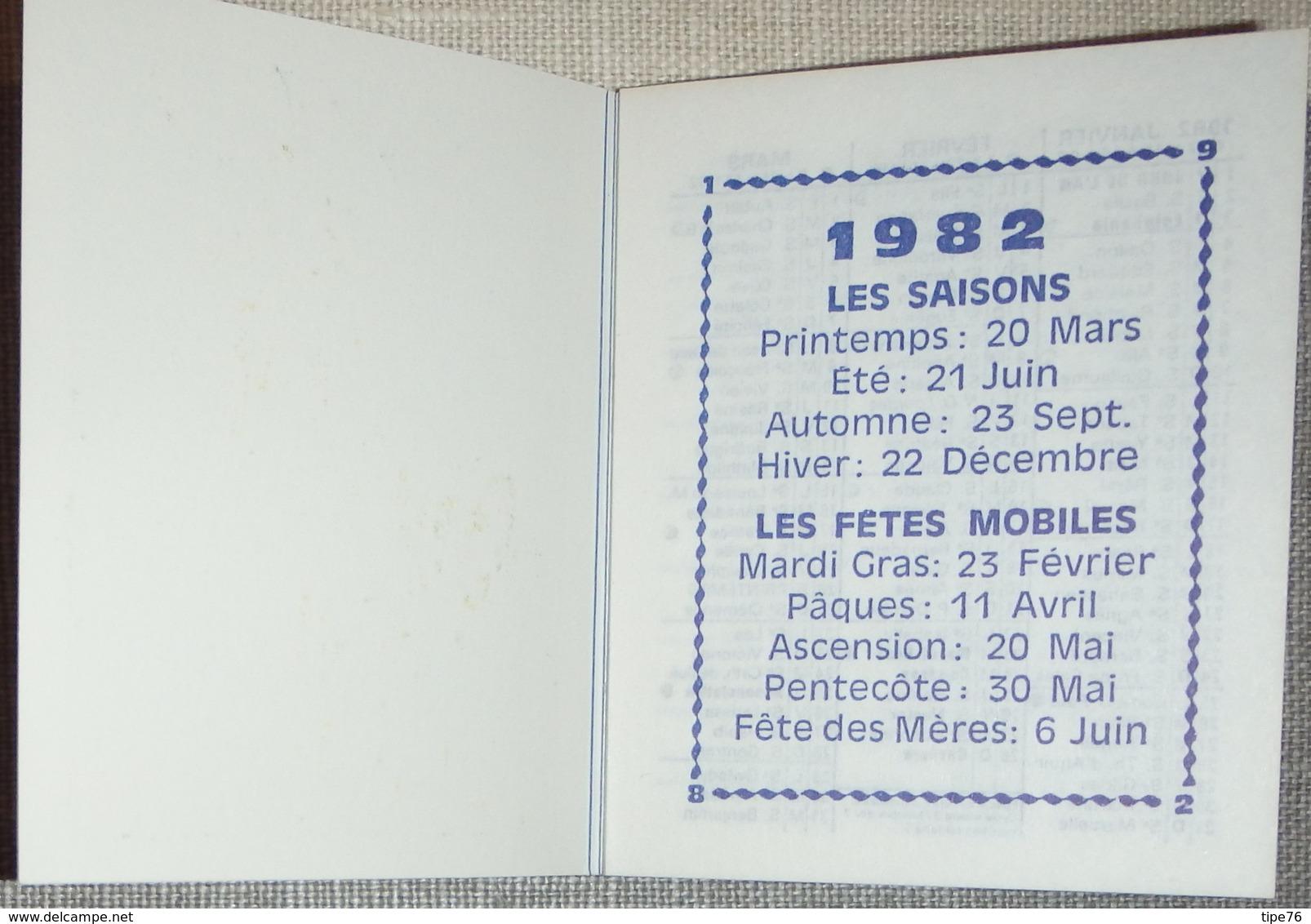Petit Calendrier Poche  Agenda 1982 Illustration Michel Thomas Poulbot Tennis - 24 Pages - Guéret - Calendriers