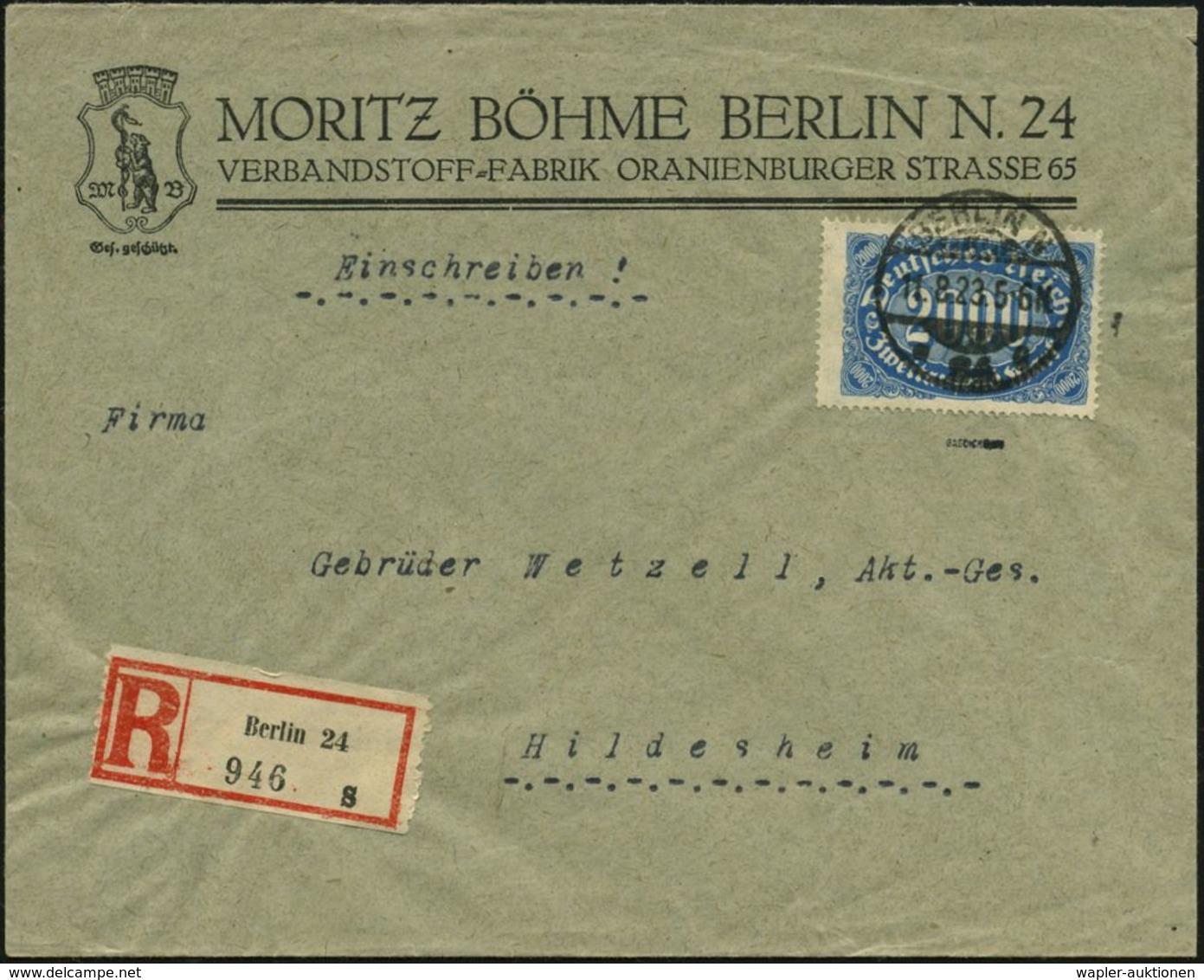 MEDIZINISCHE AUSRÜSTUNG & INSTRUMENTE : BERLIN N/ *24g 1923 (11.8.) 1K-Gitter Auf EF 2000 Mk. Ziffer , Blau, + RZ: Berli - Médecine