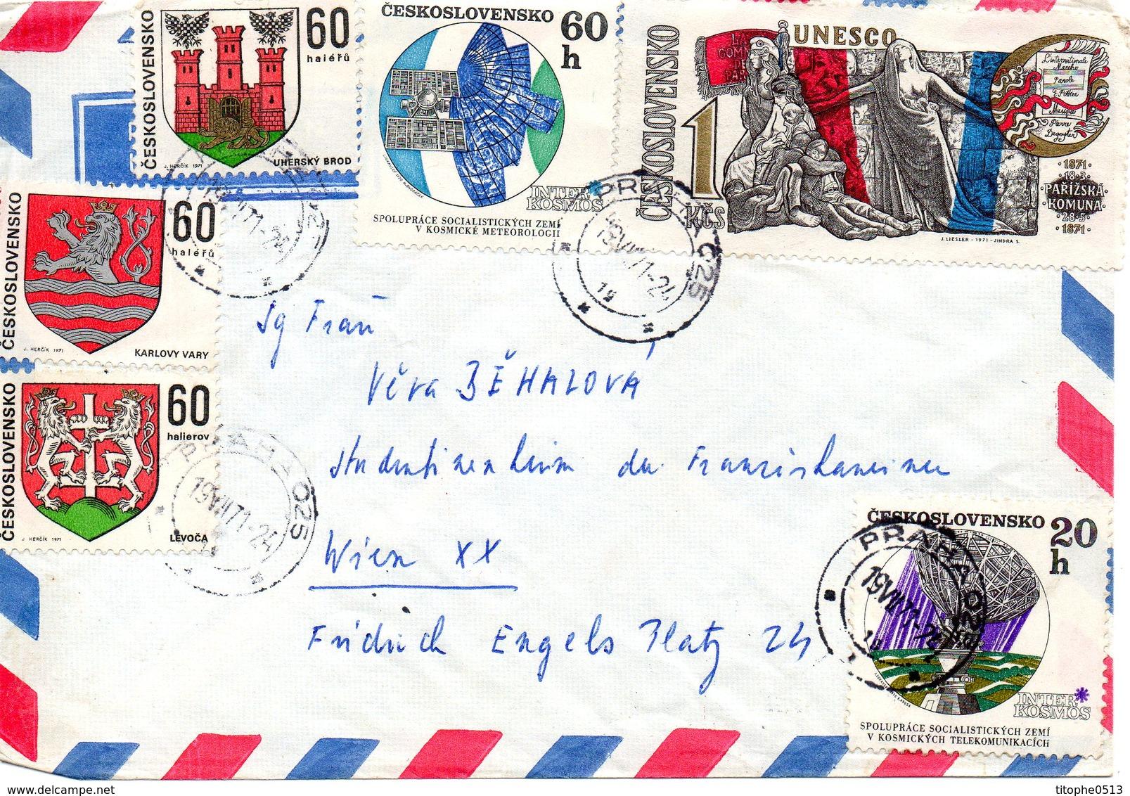 TCHECOSLOVAQUIE. N°1814 & 1816 De 1970 Sur Enveloppe Ayant Circulé. Recherches Sur Le Cosmos. - Lettres & Documents