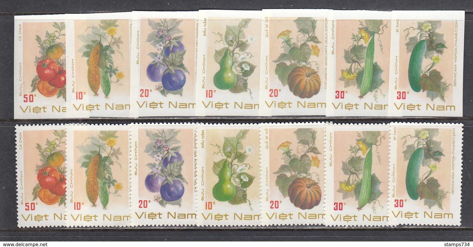 Vietnam 1988 - Fruits Et Legumes, Mi-Nr. 1974/80, Dent.+non Dent., MNH** - Vietnam