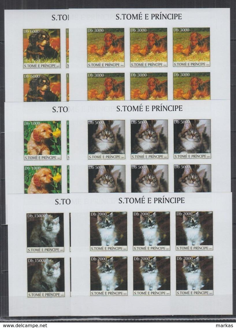 O951. 6x S.Tome E Principe - MNH - 2003 - Pets - Cats - Dogs - Imp - Full Sheet - Pflanzen Und Botanik