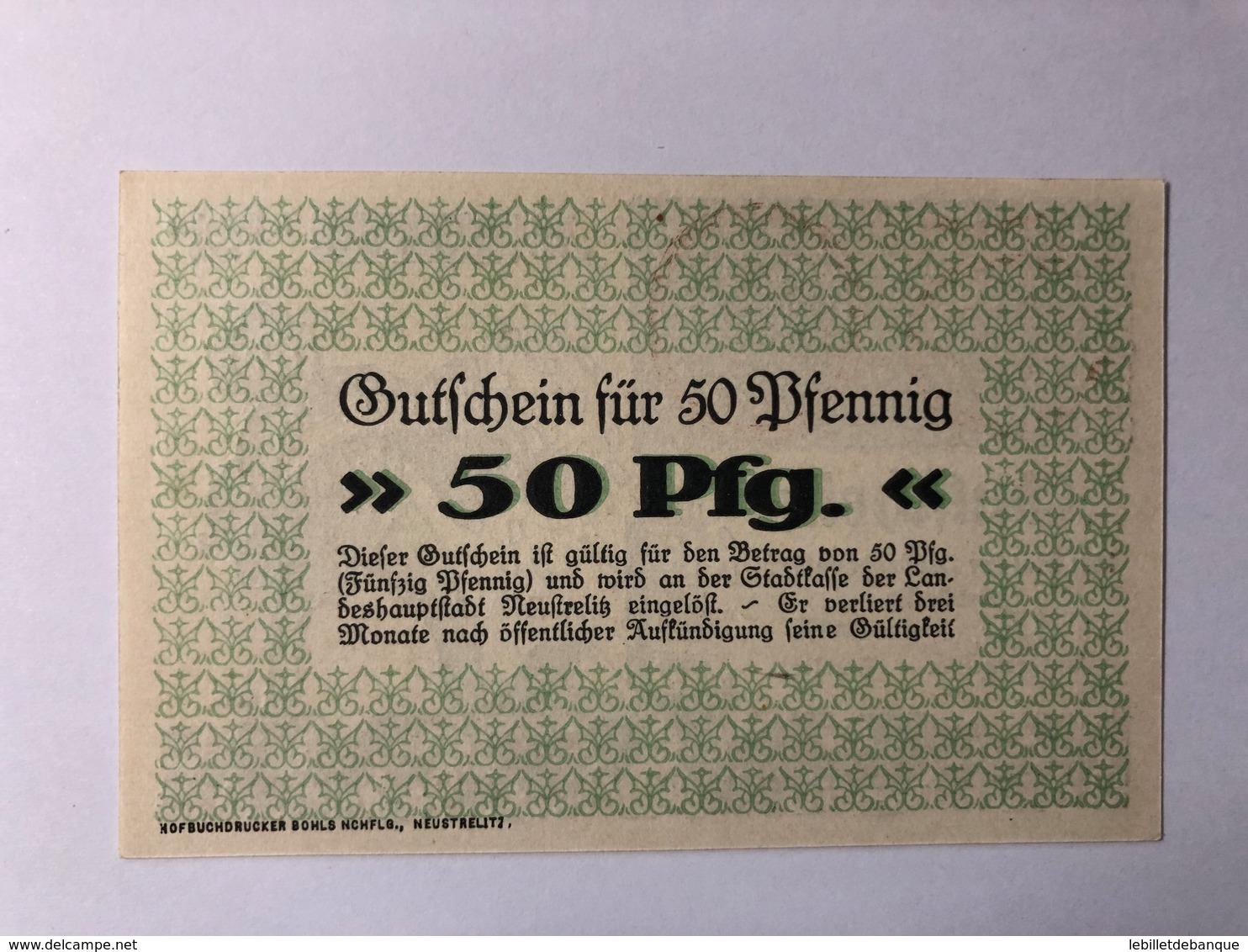 Allemagne Notgeld Neustrelitz 50 Pfennig - Verzamelingen