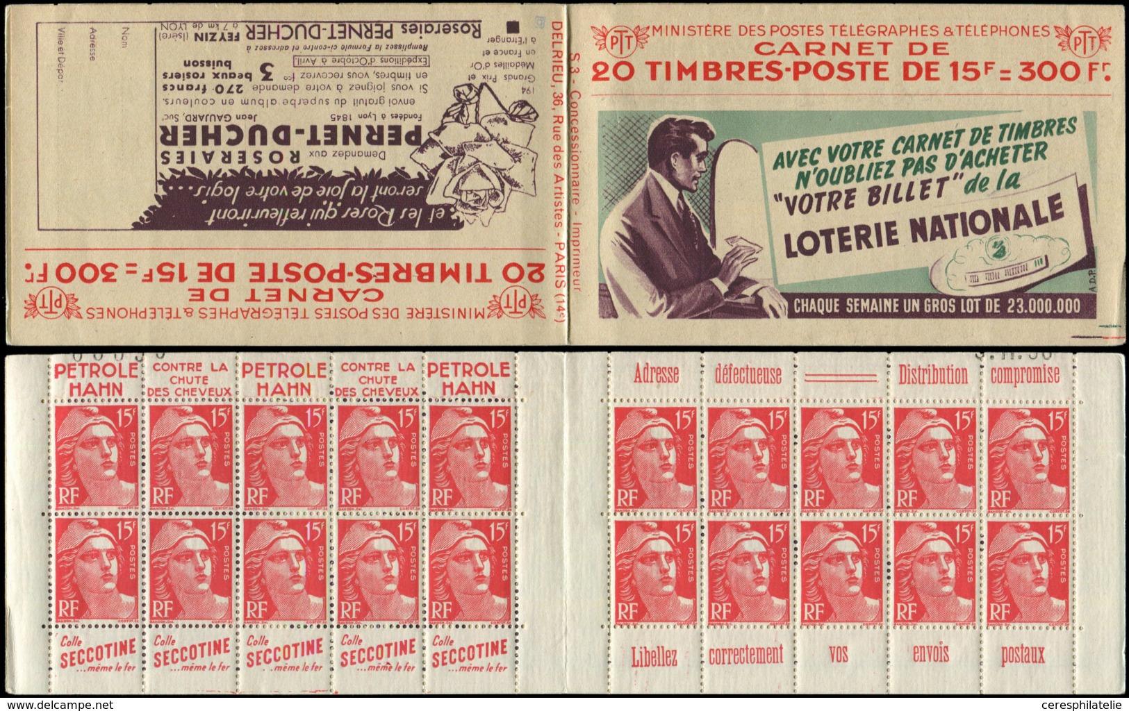 CARNETS (N° Yvert) -  813-C2    Gandon, 15f. Rouge, N°813b, T II, S. 3, LOTERIE NATIONALE/PERNET DUCHER, N° Et Date Tron - Carnets