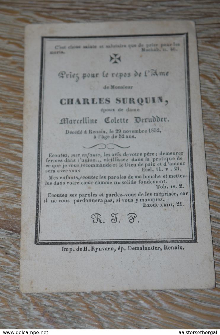 Doodsprentje 1852 Ronse Renaix Surquin - Religion &  Esoterik