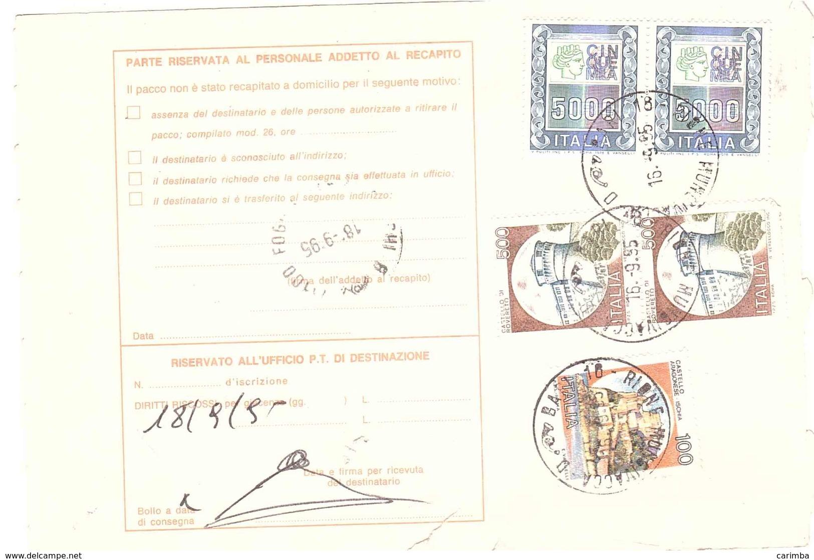 ANNULLO BARI 16 RIONE MUNGIVACCA - 6. 1946-.. Repubblica