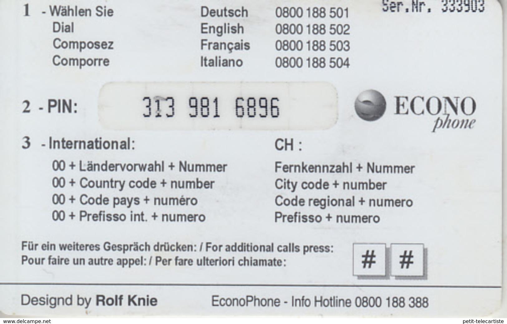 SWITZERLAND - PHONE CARD  ***  CIRQUE KNIE & 2 TIGRES *** - Oerwoud