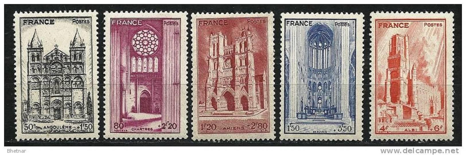 "FR YT 663 à 667 "" Cathédrales "" 1944 Neuf** - Unused Stamps"