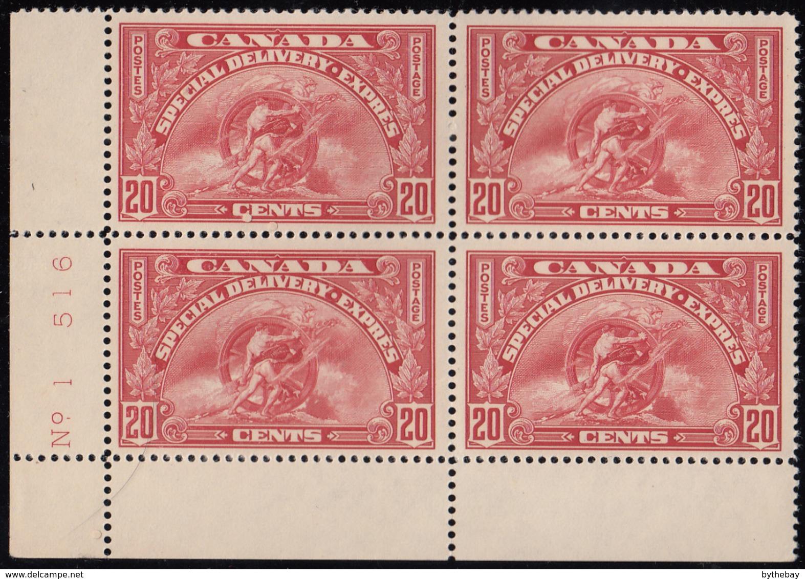 Canada 1935 MNH Sc E6 20c Mercury, Wheel Plate 1 Lower Left Plate Block - Exprès