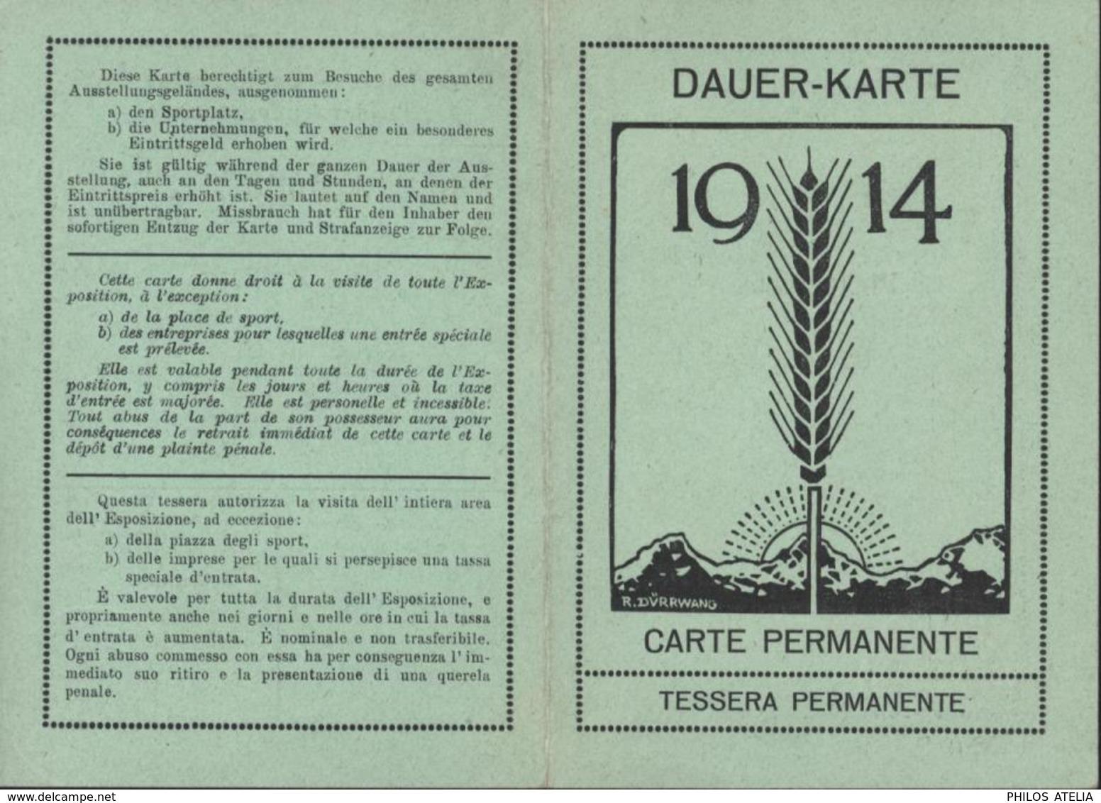 Carte Permanente Pour Exposition Nationale Suisse Berne 15 Mai Au 15 Octobre 1914 Avec Photo - Tickets D'entrée