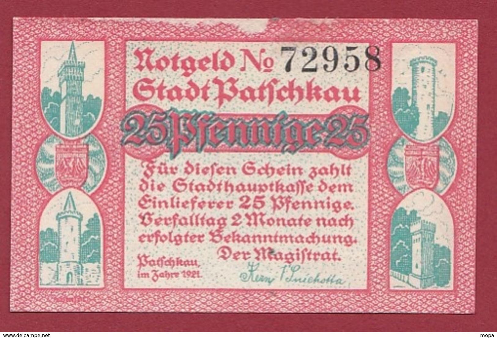 Allemagne 1 Notgeld 25 Pfenning  Stadt Patschkau (  RARE) Dans L 'état N °5335 - Collections