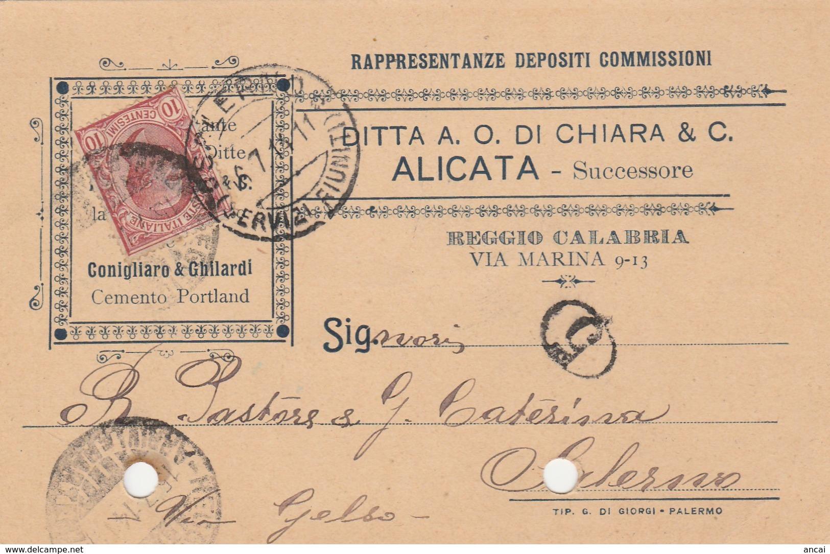 Reggio Calabria. 1914.  Annullo Guller, Su Cartolina Pubblicitaria ... RAPPRESENTANZA DEPOSITI COMMISSIONI ... - 1900-44 Vittorio Emanuele III