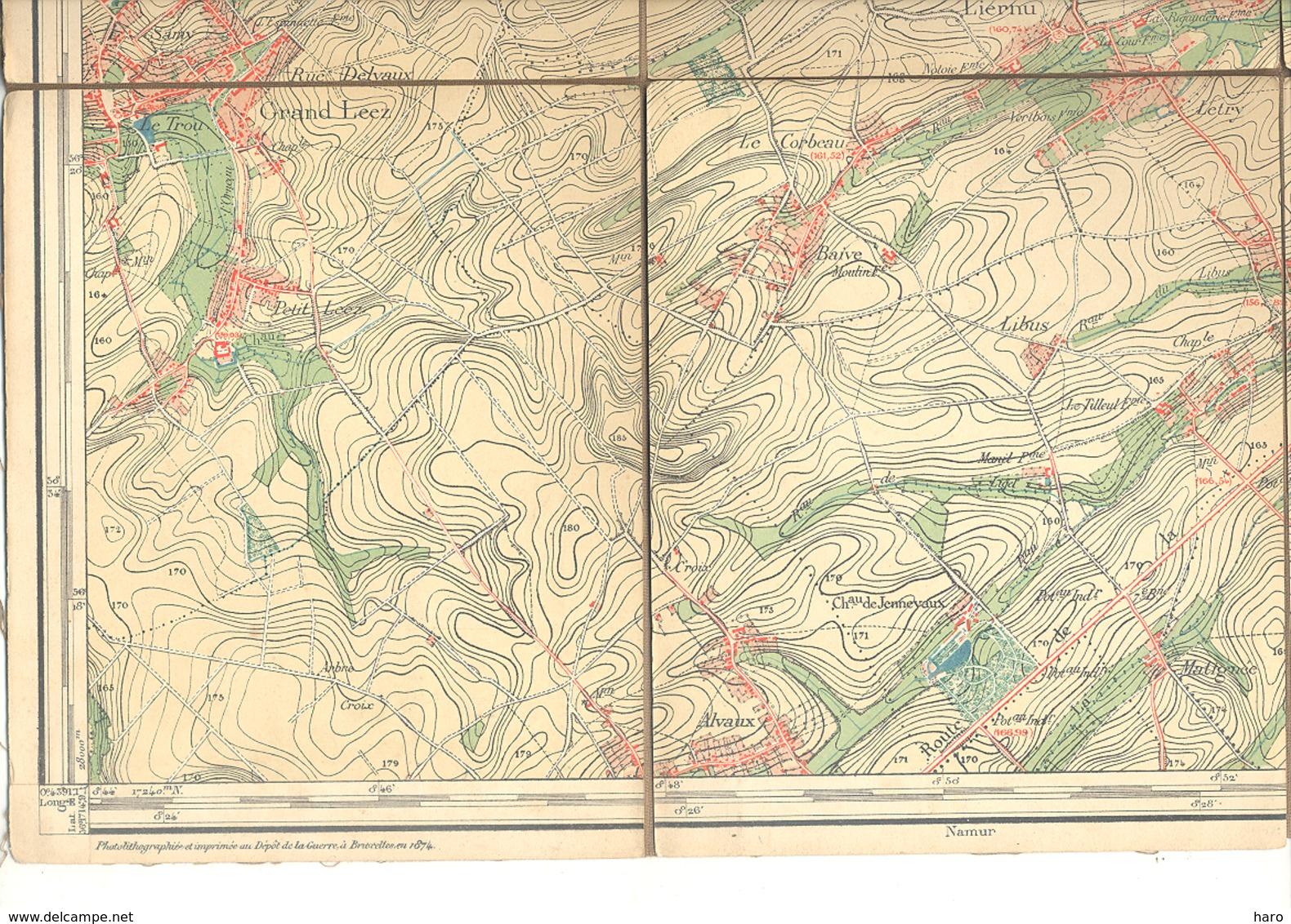 Carte De Géographie Toilée - PERWEZ  1874- Levée Et Nivelée 1865 (b271) - Geographical Maps