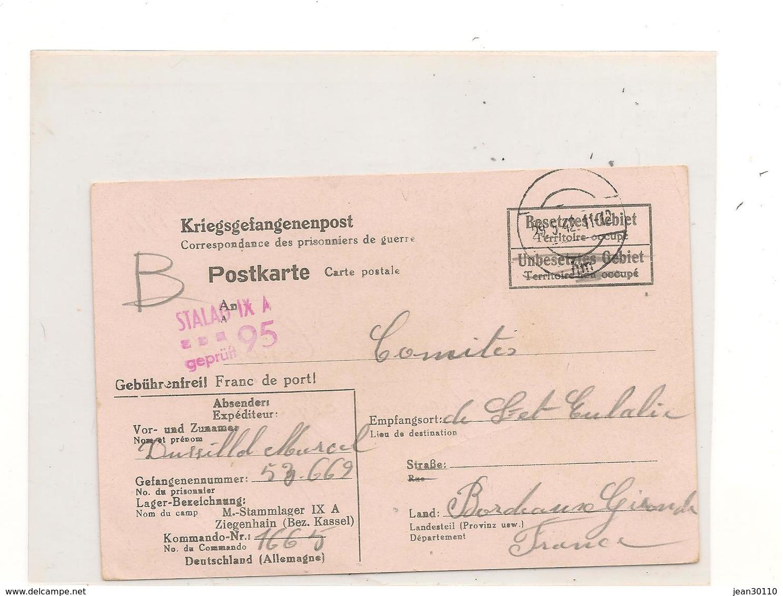 1942 PRISONNIERS DE GUERRE CARTE POSTALE AVEC INSTRUCTION D'ENVOI DU  STALAG IX A ZIEGENHAIN  POUR BORDEAUX  (GIRONDE) - Marcophilie (Lettres)