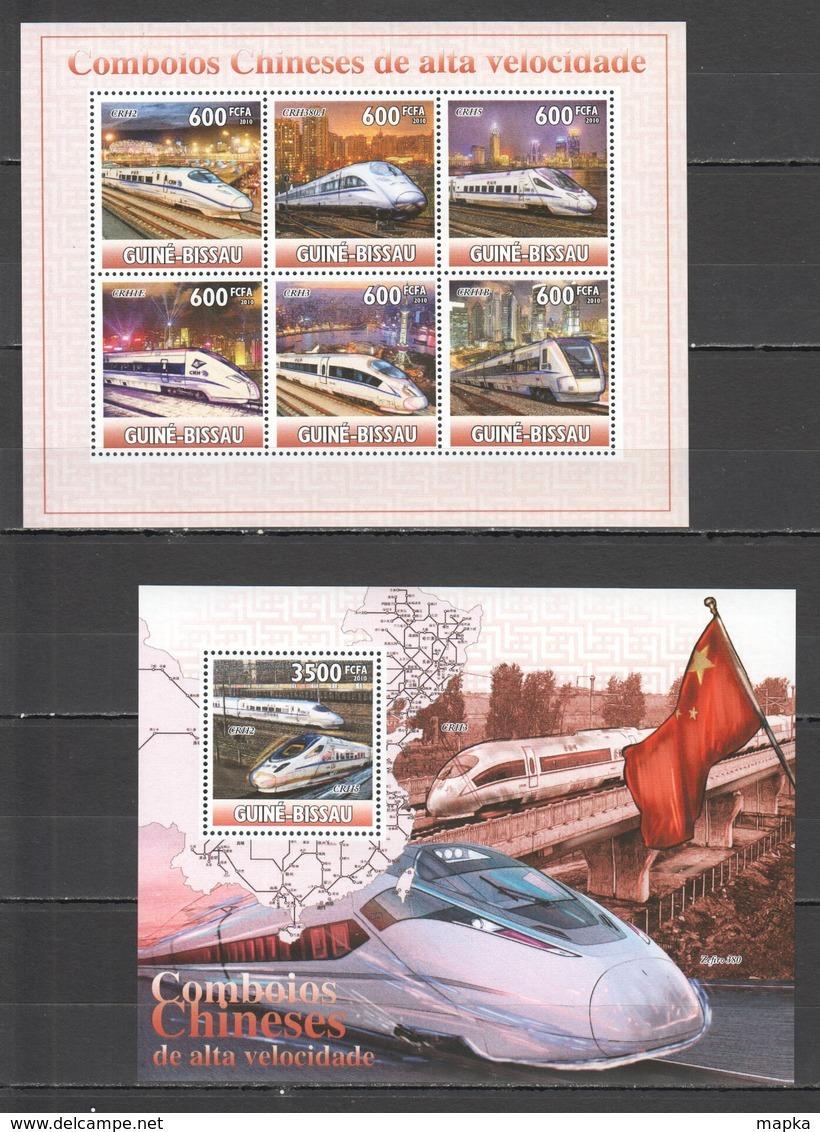 BC741 2010 GUINE GUINEA-BISSAU TRAINS COMBOIOS CHINESES DE ALTA VELOCIDADE 1KB+1BL MNH - Concorde