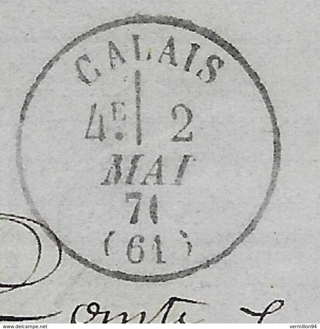 Emission De Bordeaux 20 C Bleu GC 698 CALAIS (Pas-de-Calais) 1871 (cachet : Zéro  Limé Pour Faire 1) - Storia Postale
