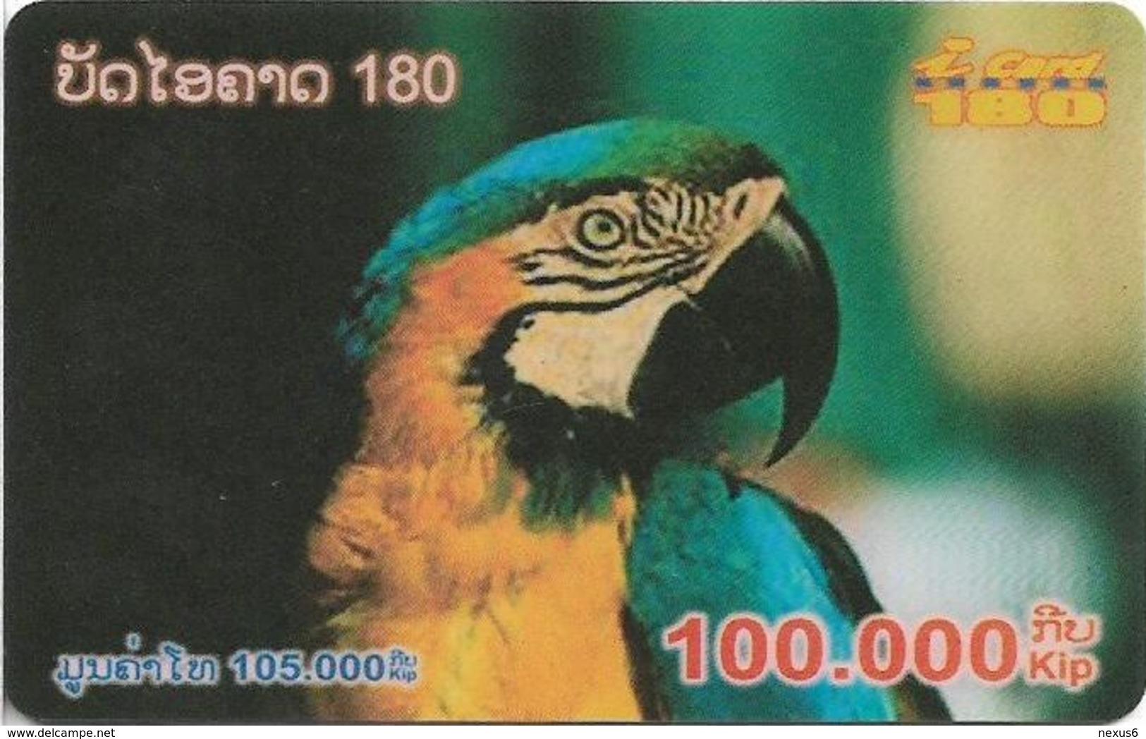 Laos - ETL - I-Card 180 - Parrot, Exp.31.12.2005, Remote Mem. 100.000₭, Used - Laos