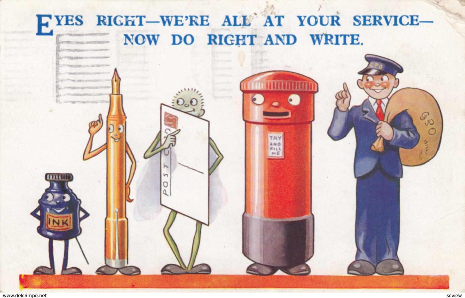 Eyes Right - We're All At Your Service, Now Do Right & Write , 1938 - Postal Services
