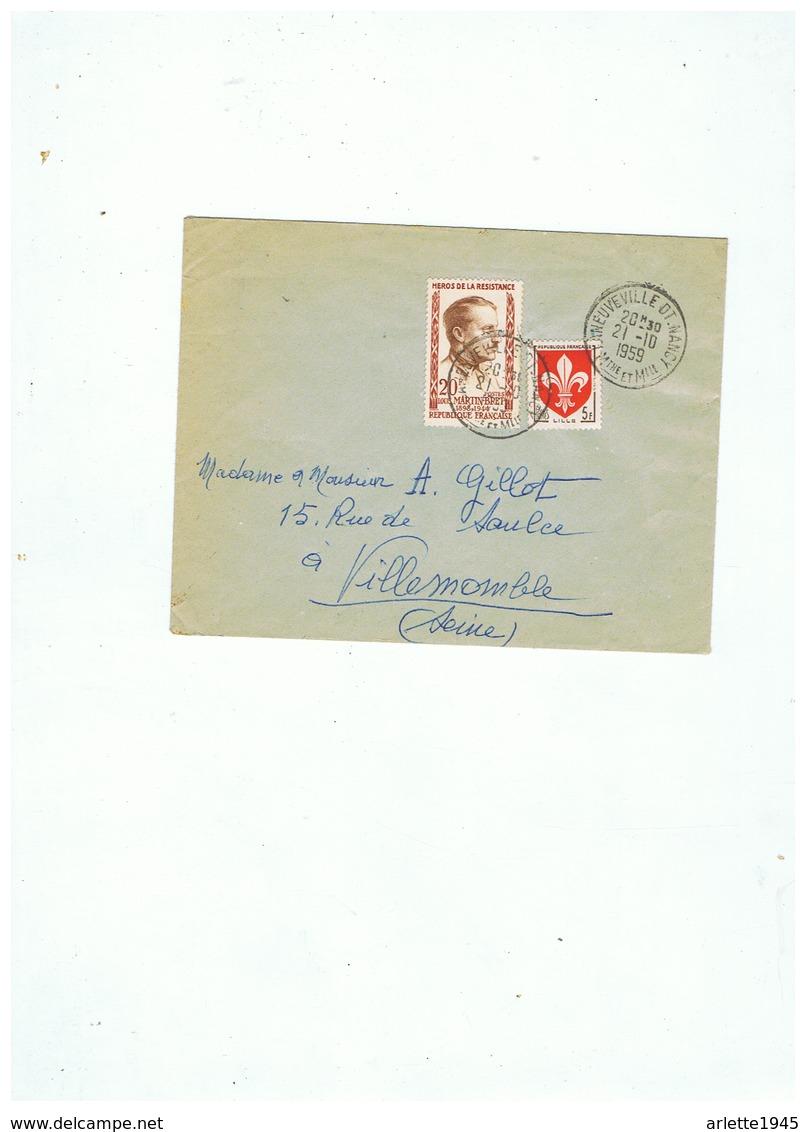 LETTRE DEPART LANEUVILLE NANCY (M Et M) Pour VILLEMOMBLE (SEINE) 1959 - Liberation