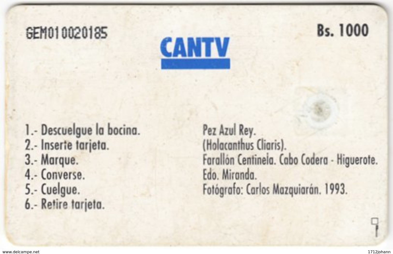 VENEZUELA A-395 Chip CanTV - Animal, Sea Life, Fish - Used - Venezuela
