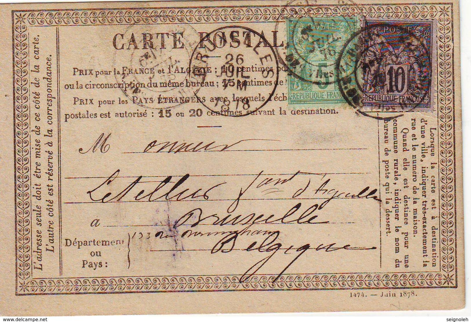 Sage Carte Precurseur Pour La BELGIQUE , TTB - 1877-1920: Période Semi Moderne