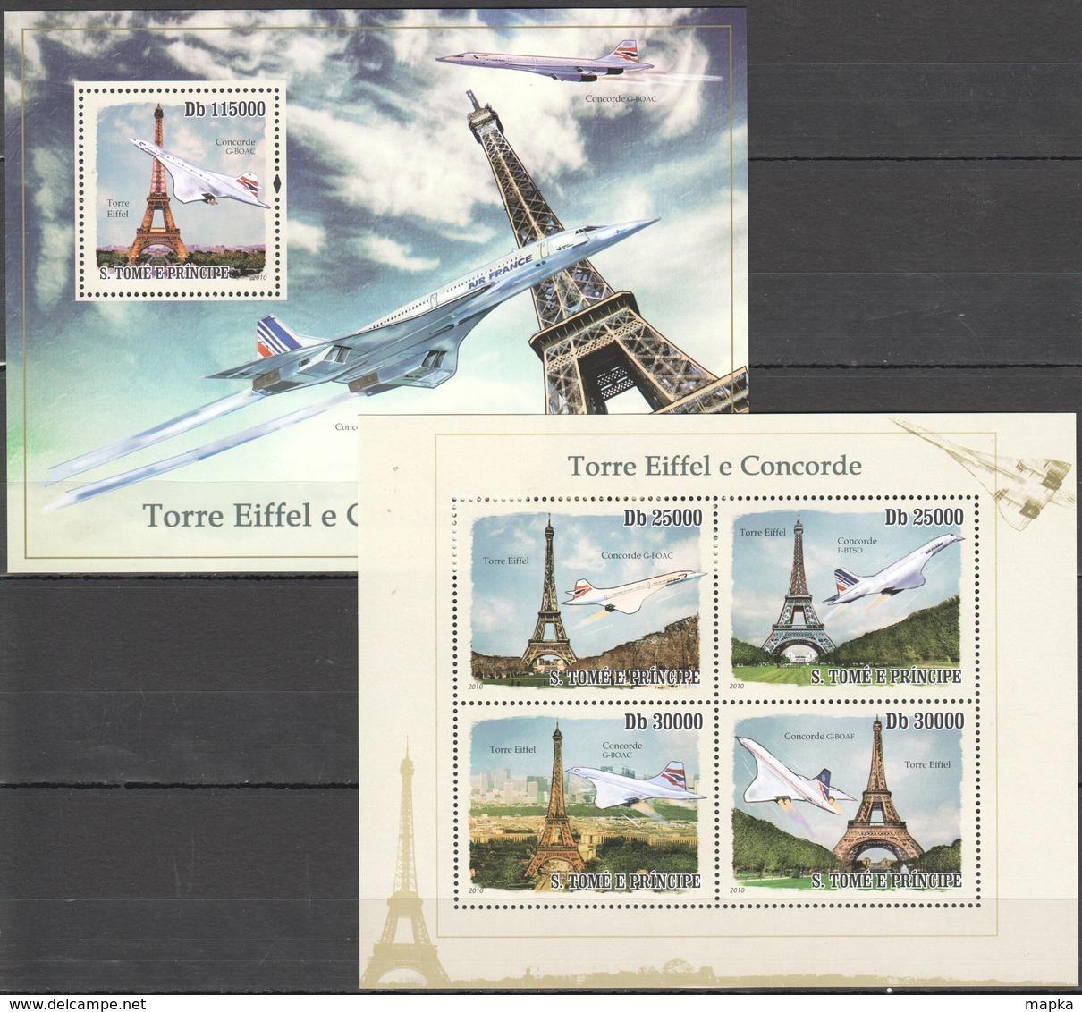 BC843 2010 S.TOME E PRINCIPE AVIATION ARCHITECTURE TOUR EIFFEL CONCORDE 1KB+1BL MNH - Concorde