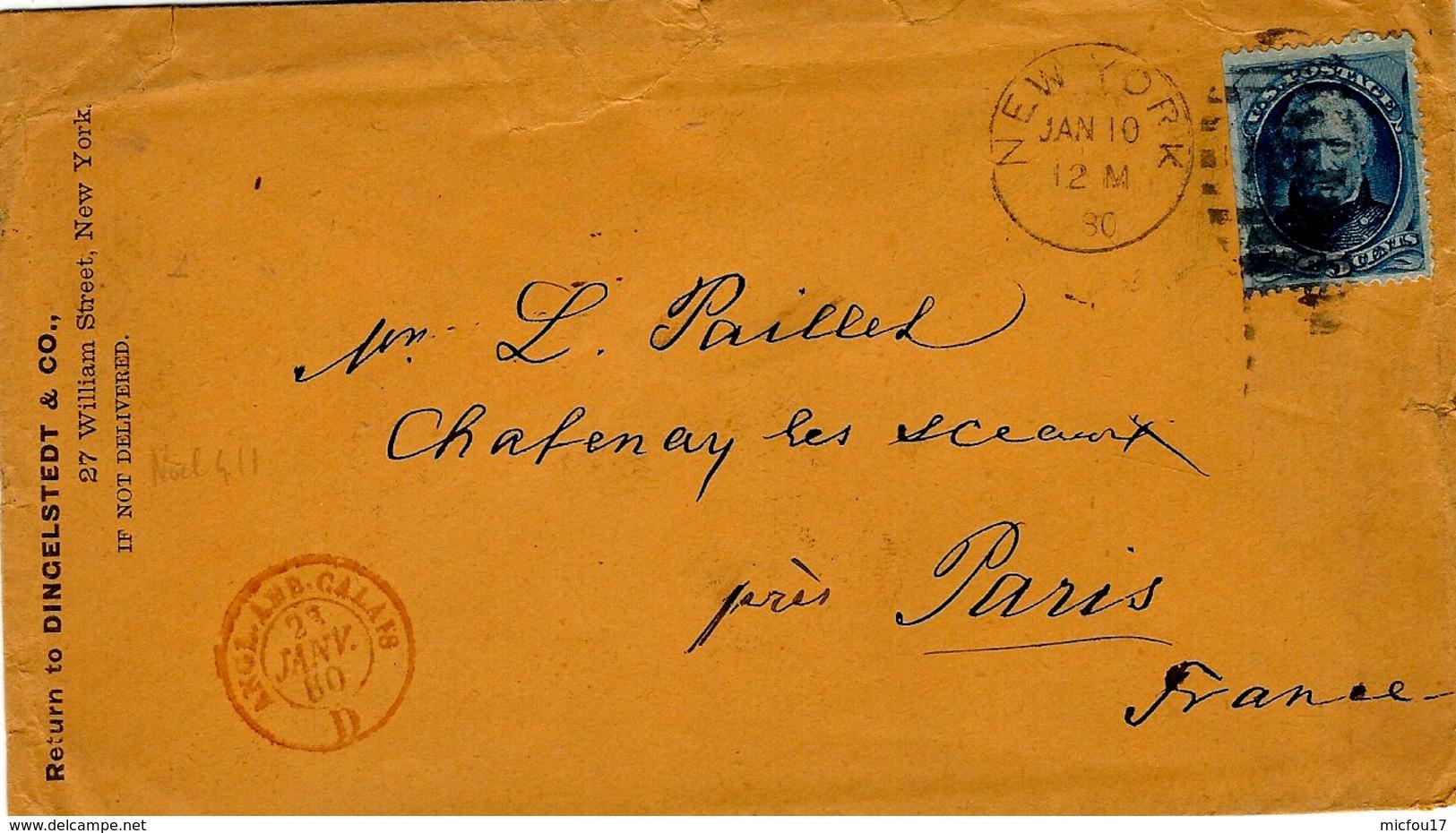 1880- Enveloppe De Nw York Pour Paris Entrée Rouge ANGL.AMB.CALAIS  D - Storia Postale