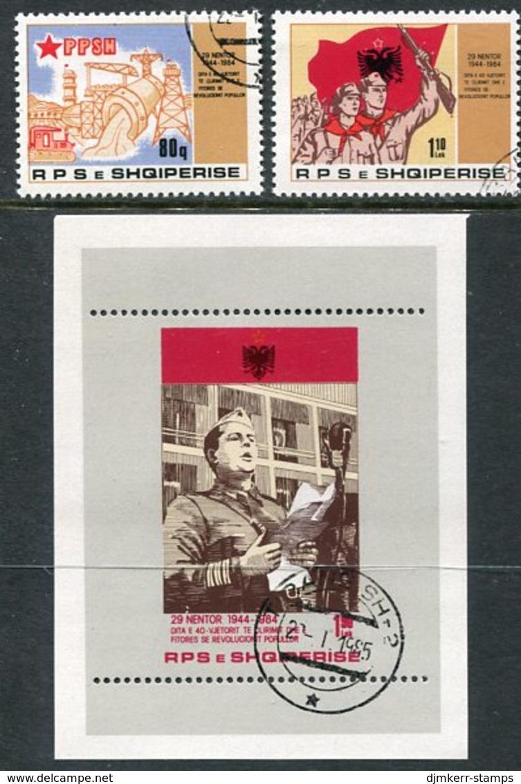 ALBANIA 1984 Liberation Anniversary Set +  Block Used.  Michel 2242-43, Block 83 - Albanie
