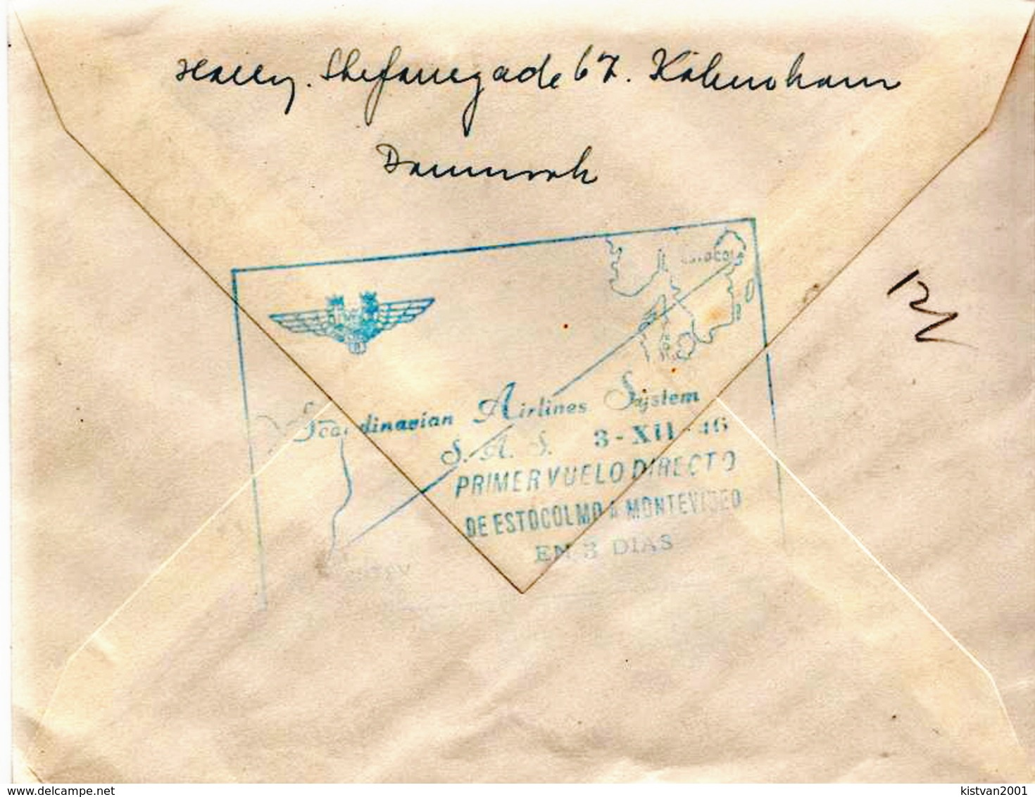 Postal History Cover: Denmark SAS First Flight Cover From Copenhagen To South America - Montevideo - Uruguay From 1946 - 1913-47 (Christian X)