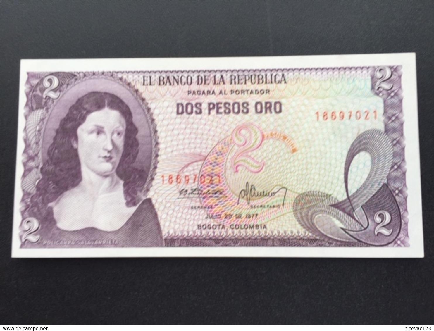 COLOMBIA P413B 2 PESOS 20.7.1977 UNC - Colombia
