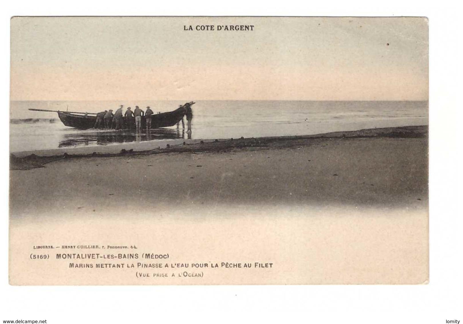 33 Montalivet Les Bains Marins Mettant La Pinasse à L' Eau Pour La Peche Au Filet Pecheur Pecheurs Cachet Convoyeur - France