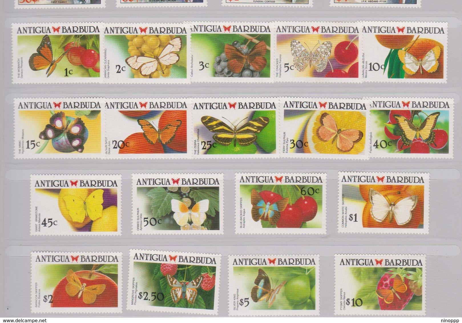 Antigua S 1145-61A 1988-90 Butterflies, Mint Hinged - Butterflies