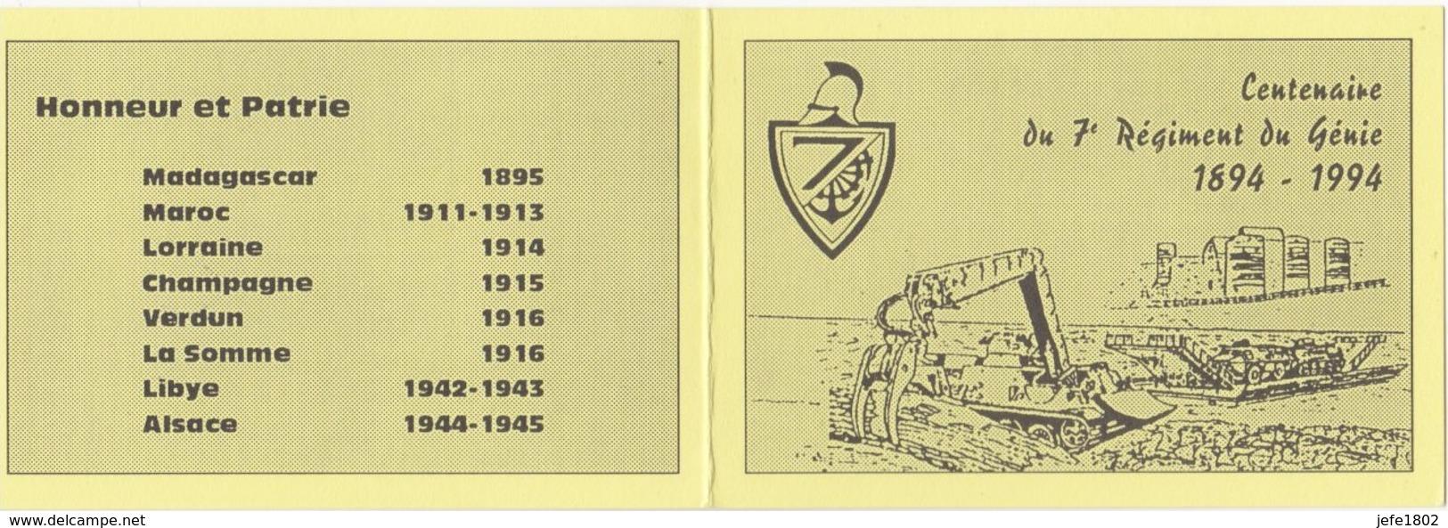 Centenaire Du 7° Régiment Du Génie 1894 - 1994 - Commémoratifs