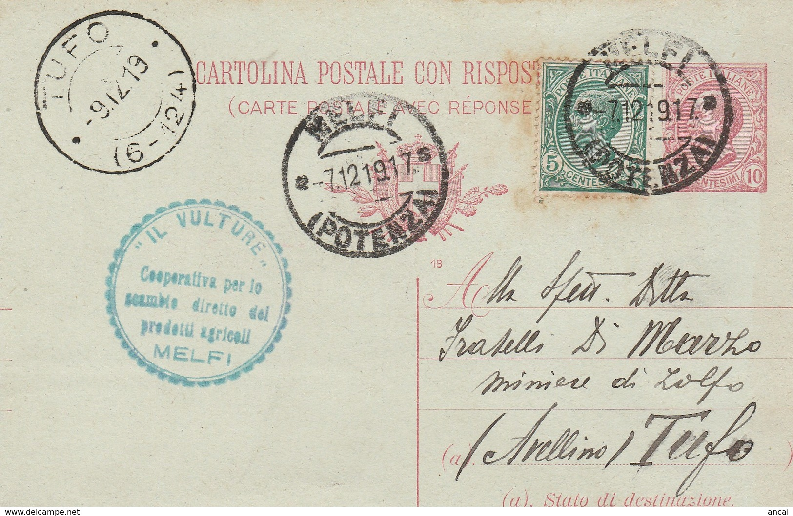 """Melfi . 1917. Annullo Guller MELFI (POTENZA), Su Cartolina Postale.  ANNULLO A TAMPONE PUBBLICITARIO... """"IL VULTURE"""" .. - 1900-44 Vittorio Emanuele III"""