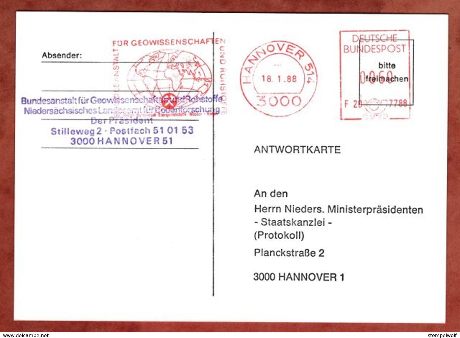 Karte, Francotyp-Postalia F20-7788, Wappen, Bundesanstalt Geowissenschaften Rohstoffe, 60 Pfg, Hannover 1988 (88537) - Covers & Documents