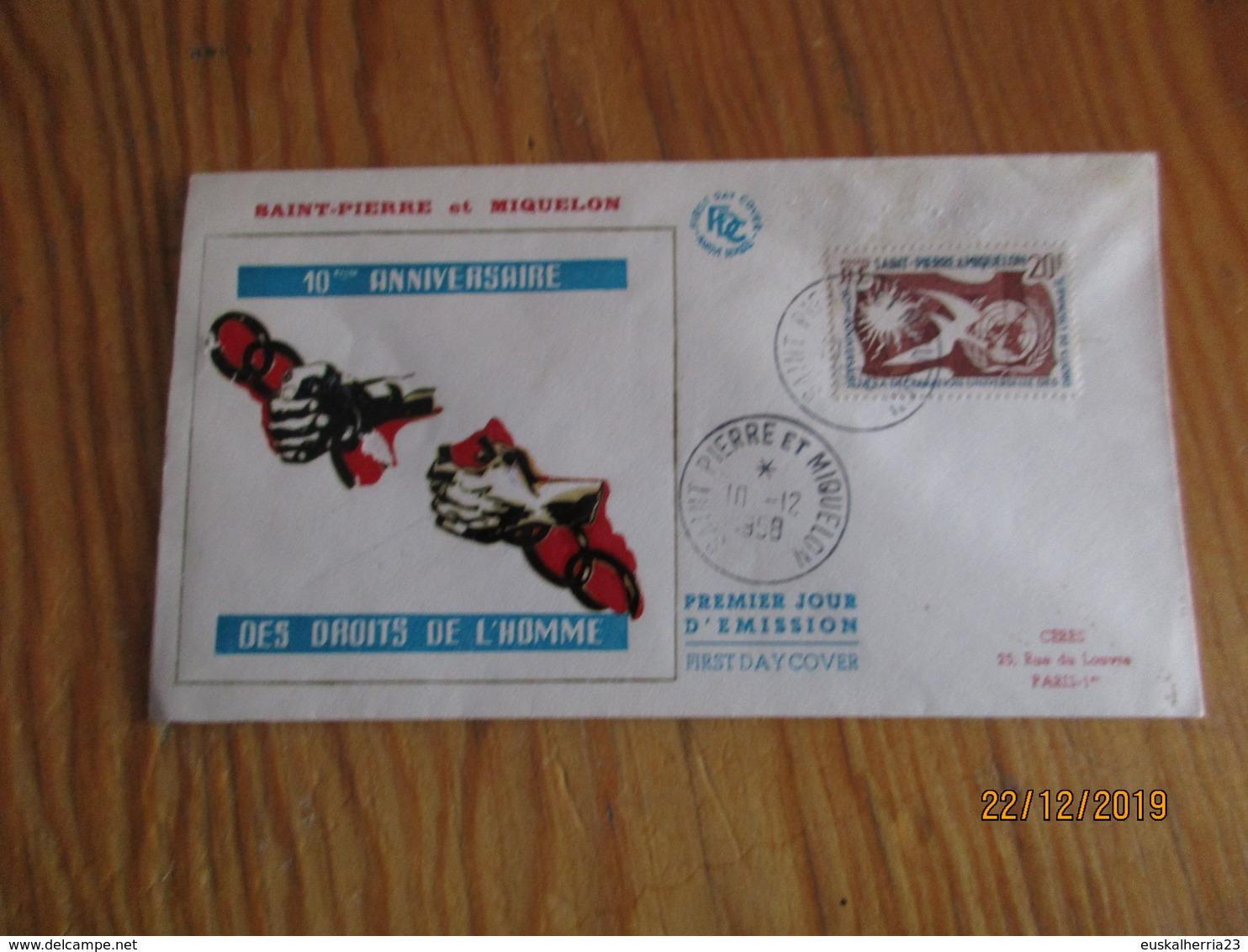 Enveloppe 1er Jour Saint-Pierre Et Miquelon Droits De L'homme 1958 - FDC