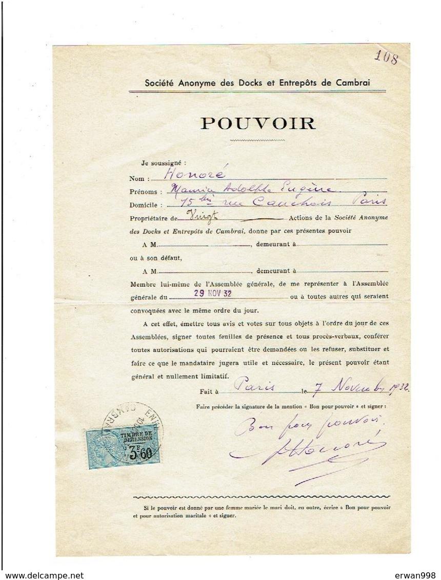 59 CAMBRAI Société Des Docks & Entrepots Pouvoirde Maurice HONORE Pour A.G. Du 29/11/1932  316 - Francia