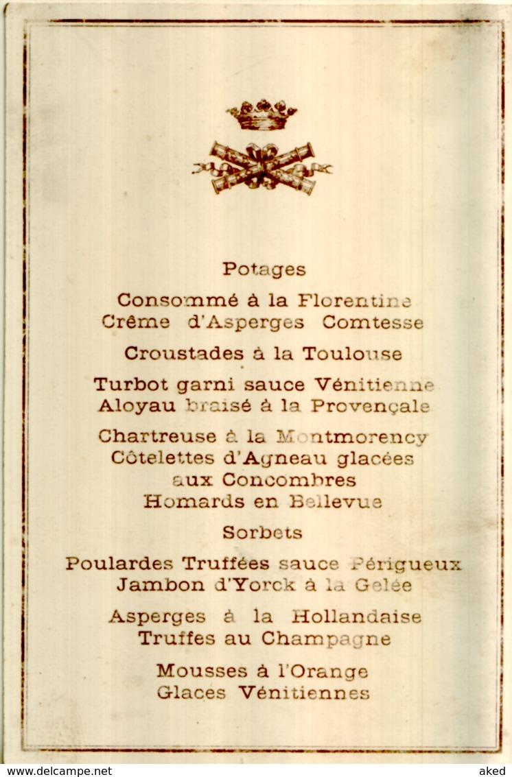 Superbe Menu Officiel Ancien XIXème Couronne + Longues Vues Croisées N°2 - Menükarten