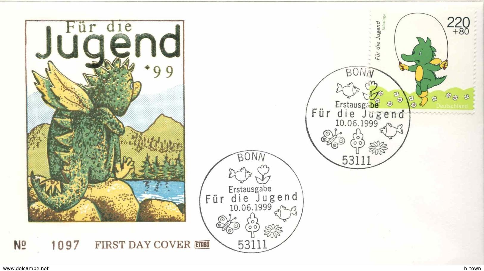 "6179  Dinosaure, Bande Dessinée: Env. 1er Jour D'Allemagne, 1999  -  Dragon ""Tabaluga"" FDC From Germany. Musical - Comics"