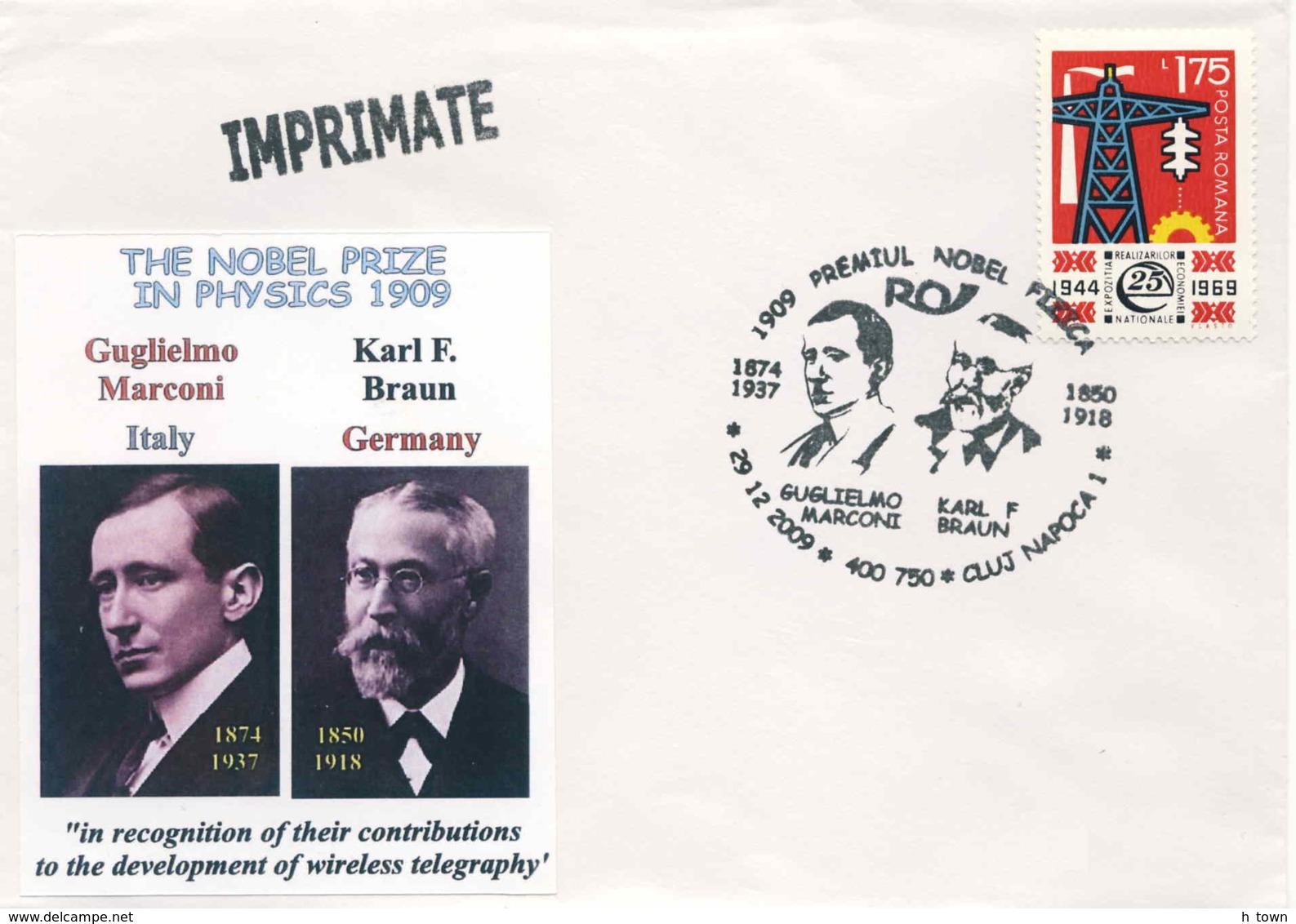 828  Marconi + Braun, Prix Nobel Physique 1909. Physics Radio Wireless Telegraphy Télégraphie Sans Fil - Physik