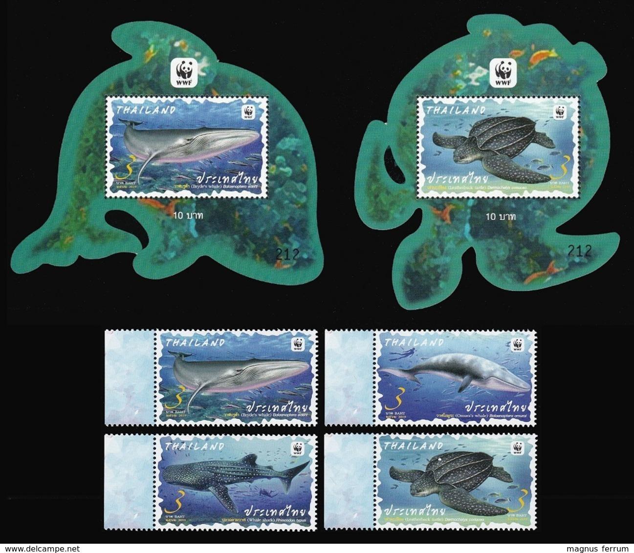 2019 Thailand, Marine Fauna, Whales, Shark, Turtle, WWF, 2 Sheets+4 Stamps - W.W.F.