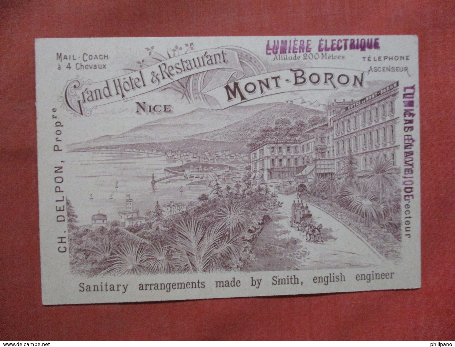 Non Mailable   Advertising  Back-- Grand Hotel & Restaurant   Nice   Ref 3790 - Reclame