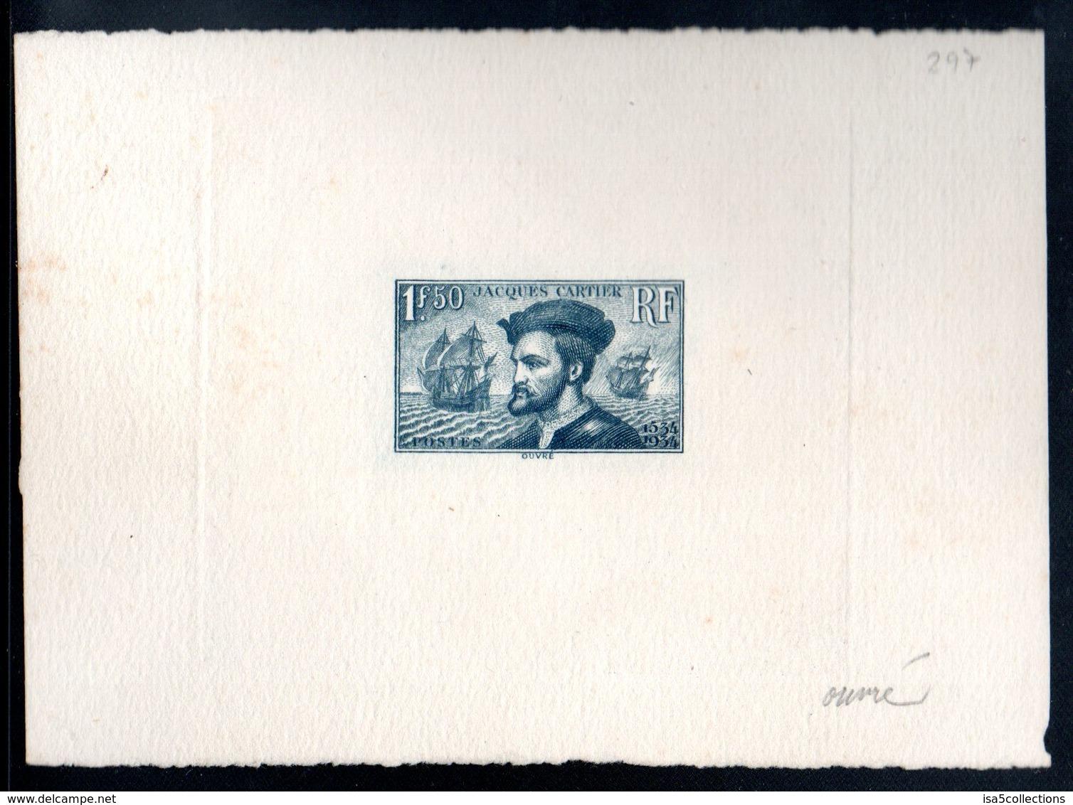 Epreuve D'Artiste Signé Achille OUVRé - YT N°297 Cartier - Couleur Retenue - Artist Proofs