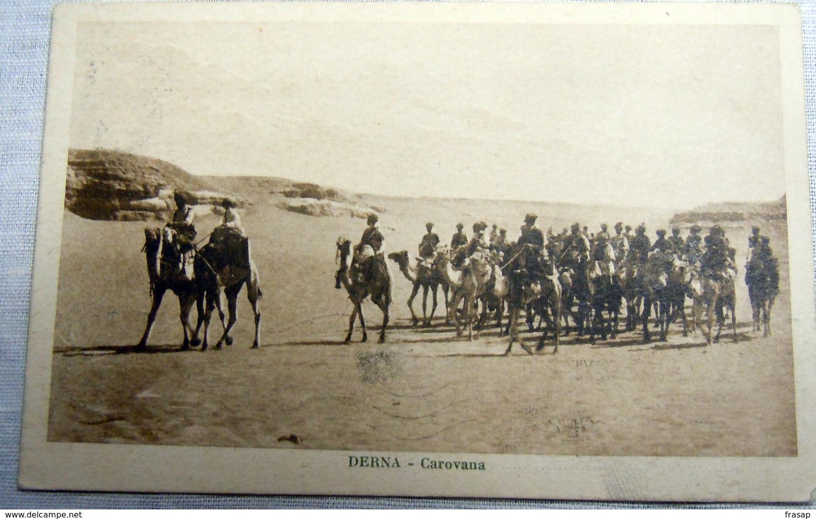 CPA-KP-PC- LIBIA  - COLONIA ITALIANA --  ASCARI DERNA CAROVANA MILITARI - Libia